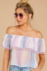 6 Dilly-Dally Lavender Multi Stripe Off The Shoulder Top at reddressboutique.com