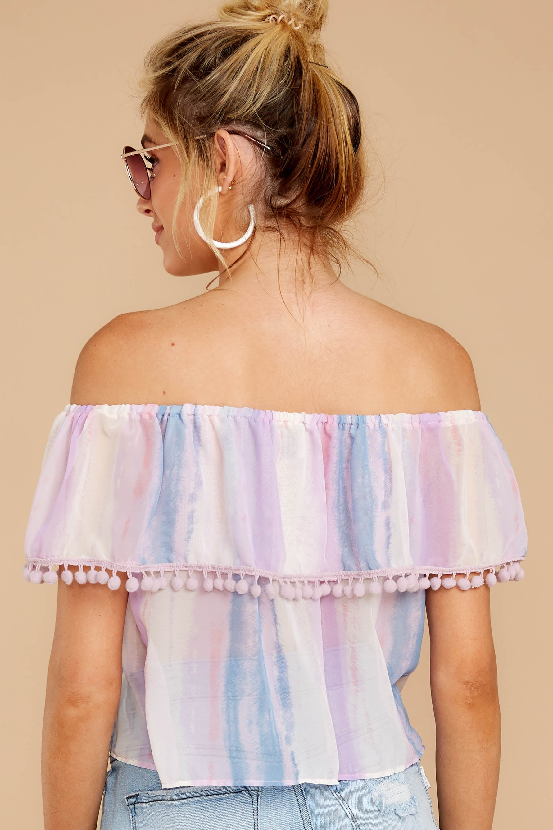 7 Dilly-Dally Lavender Multi Stripe Off The Shoulder Top at reddressboutique.com
