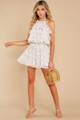 2 A Little Mystery White Floral Print Romper at reddress.com