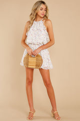 3 A Little Mystery White Floral Print Romper at reddress.com