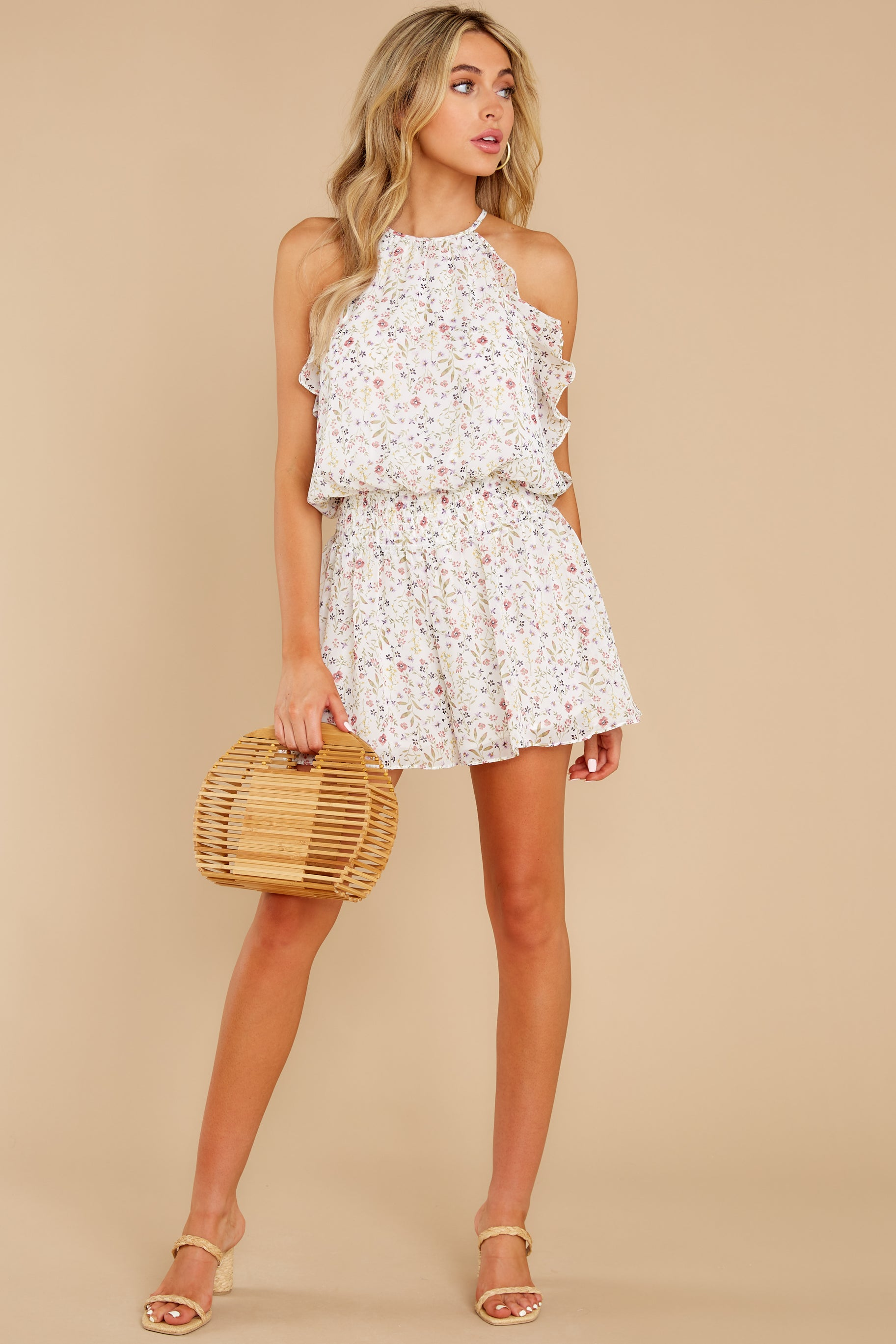 4 A Little Mystery White Floral Print Romper at reddress.com