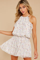 1 A Little Mystery White Floral Print Romper at reddress.com