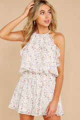 5 A Little Mystery White Floral Print Romper at reddress.com