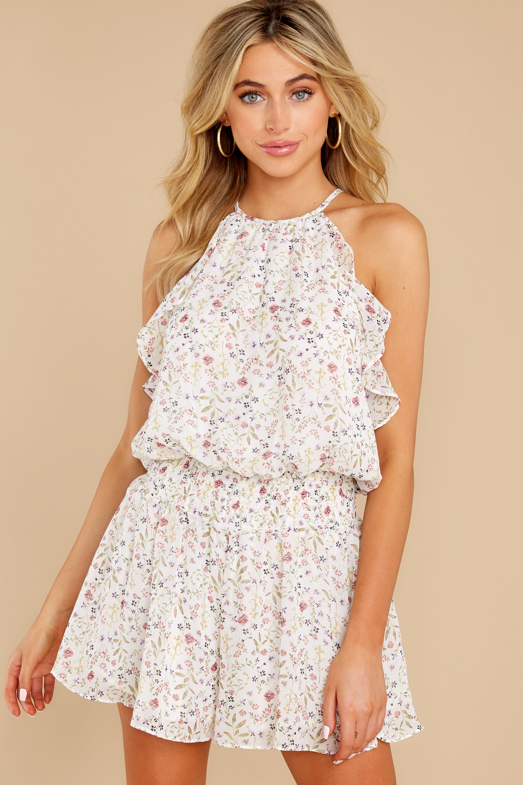 6 A Little Mystery White Floral Print Romper at reddress.com