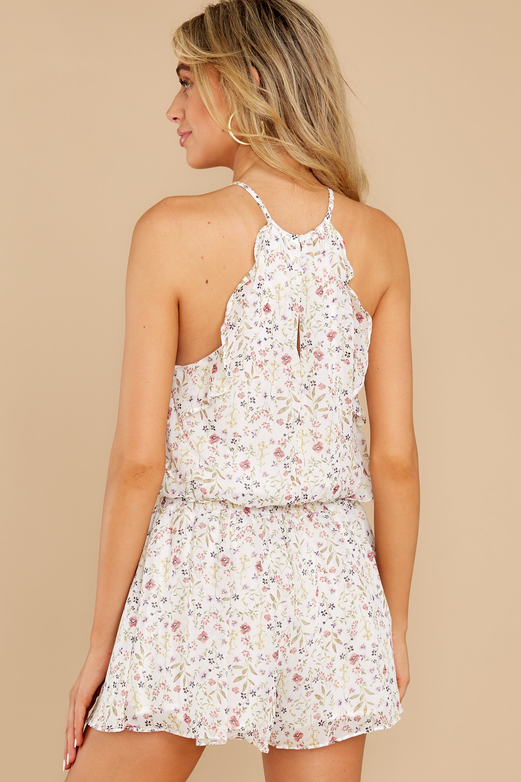 8 A Little Mystery White Floral Print Romper at reddress.com