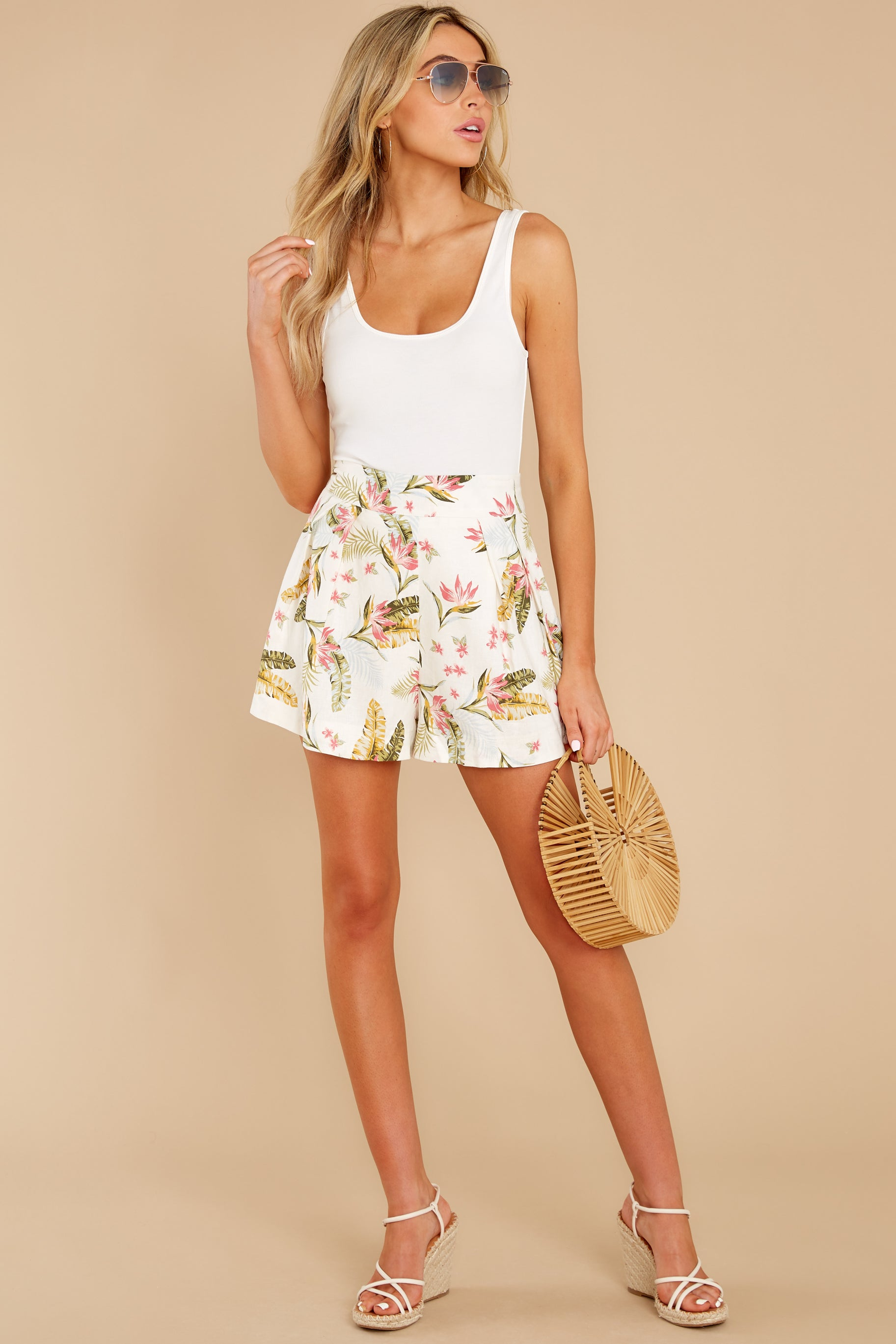 2 Never Coming Back Ivory Tropical Print Shorts at reddress.com