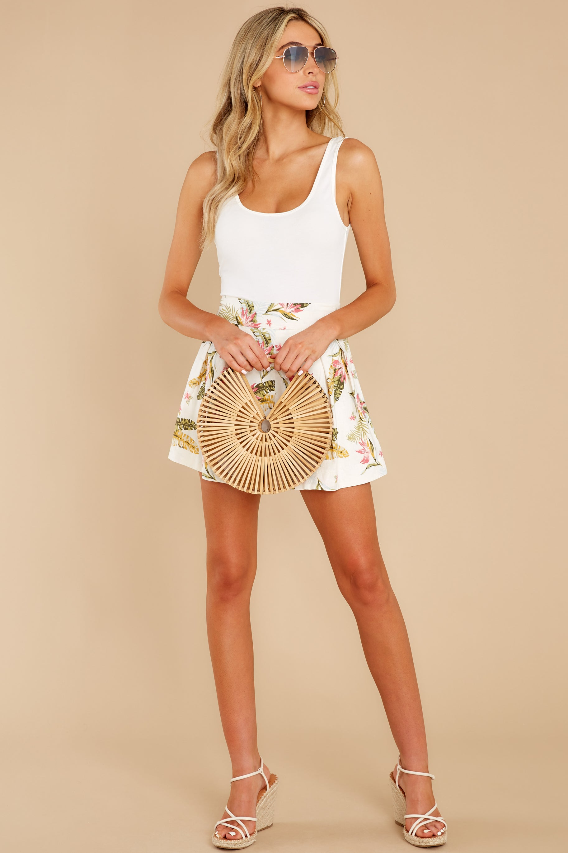 3 Never Coming Back Ivory Tropical Print Shorts at reddress.com