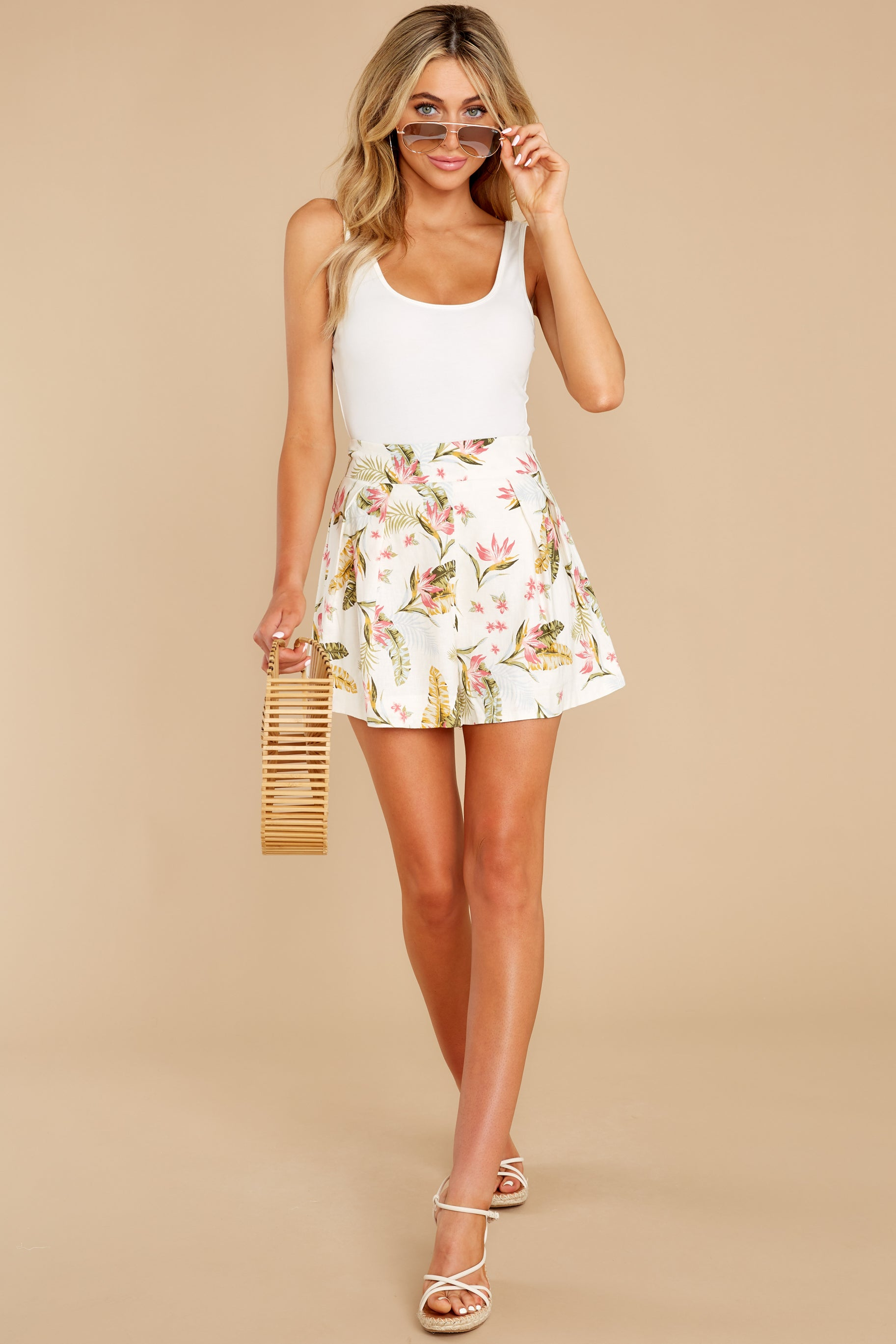 7 Never Coming Back Ivory Tropical Print Shorts at reddress.com