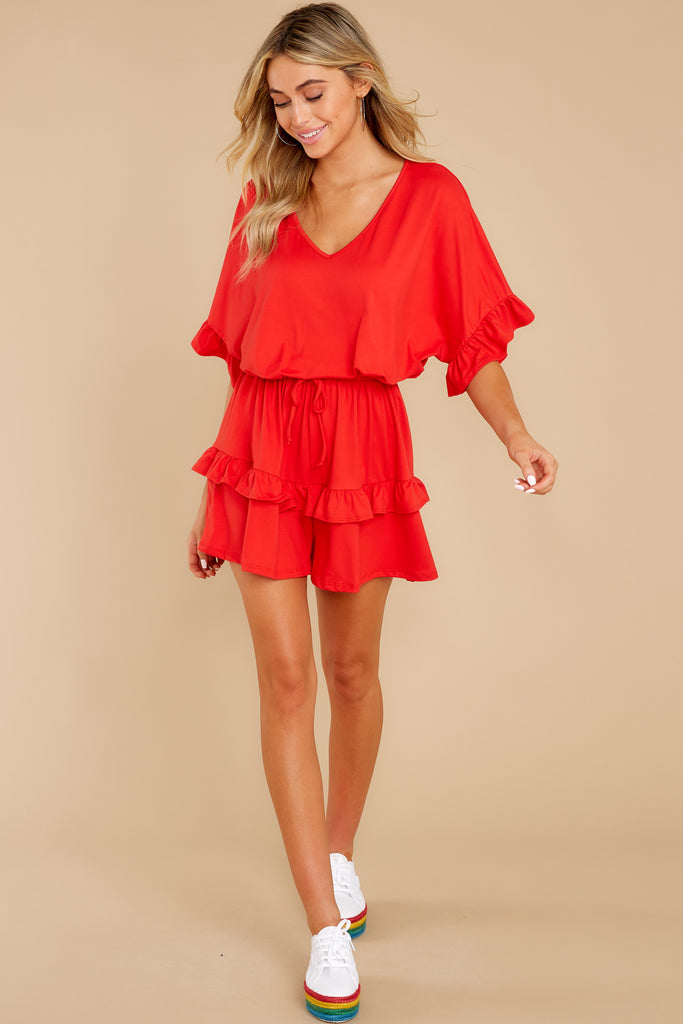 1 By The Fountain Red Print Romper at reddress.com