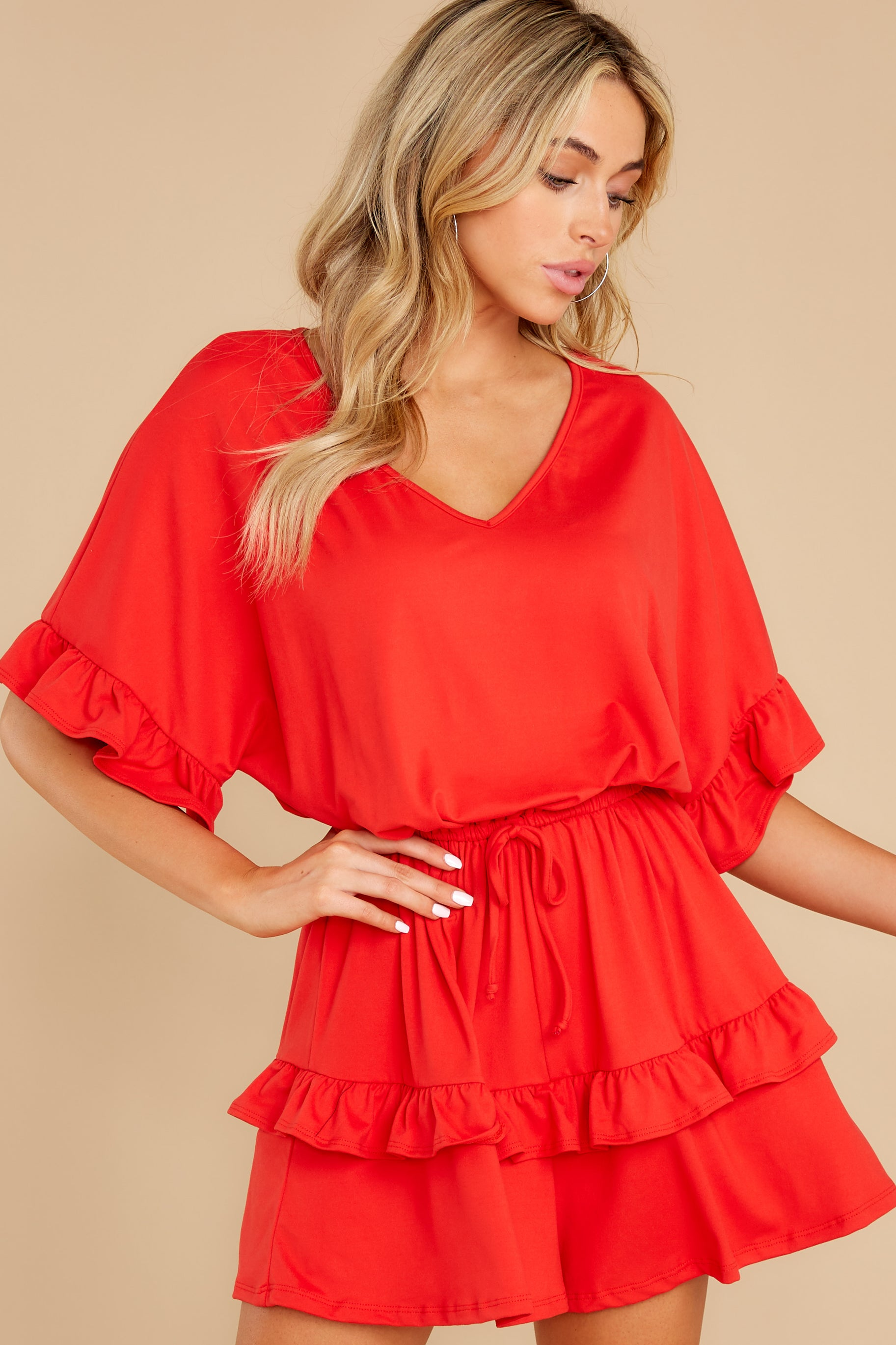 6 Serene Dream Red Romper at reddress.com