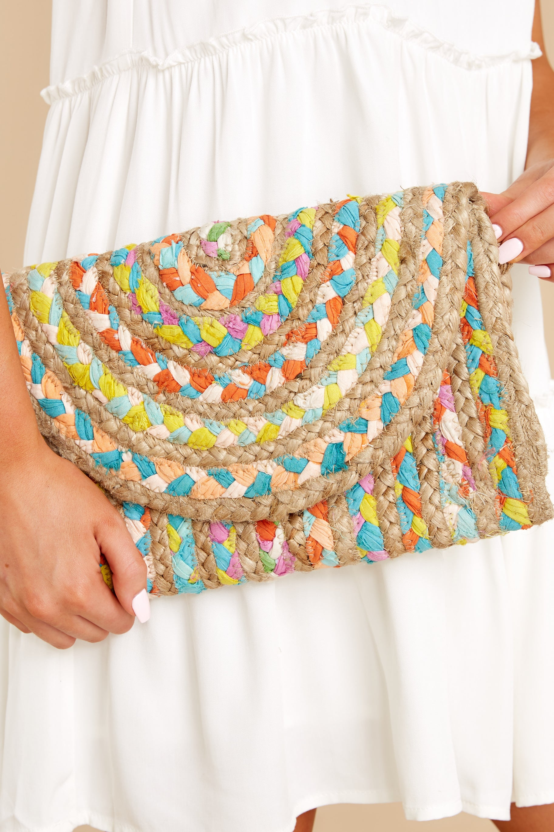 Perfect Pick Bright Yellow And Turquoise Multi Clutch