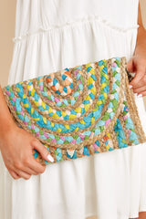 1 Perfect Pick Teal And Bright Yellow Multi Clutch at reddress.com
