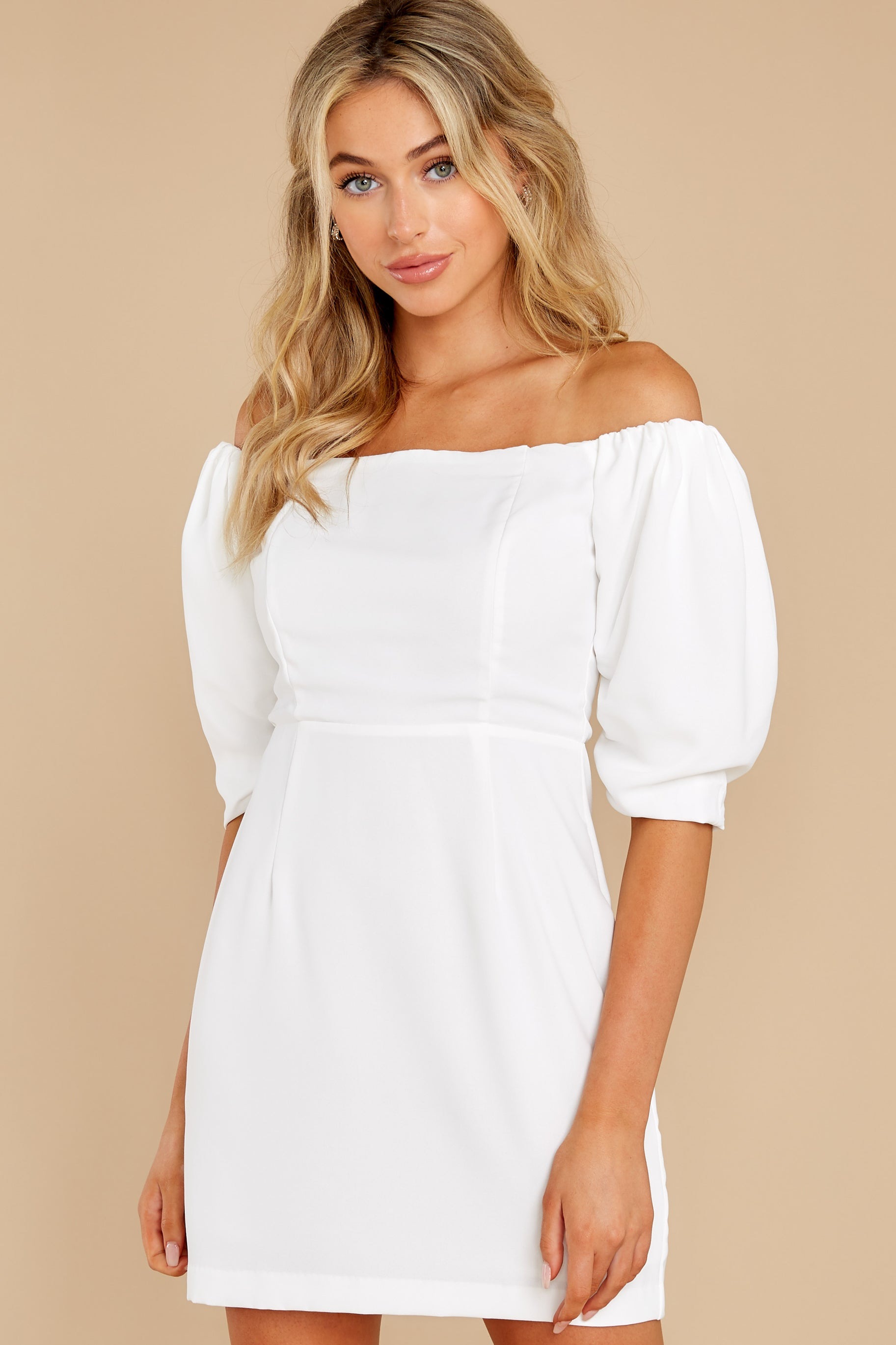 3 Lofty Ambitions White Off The Shoulder Dress at reddress.com