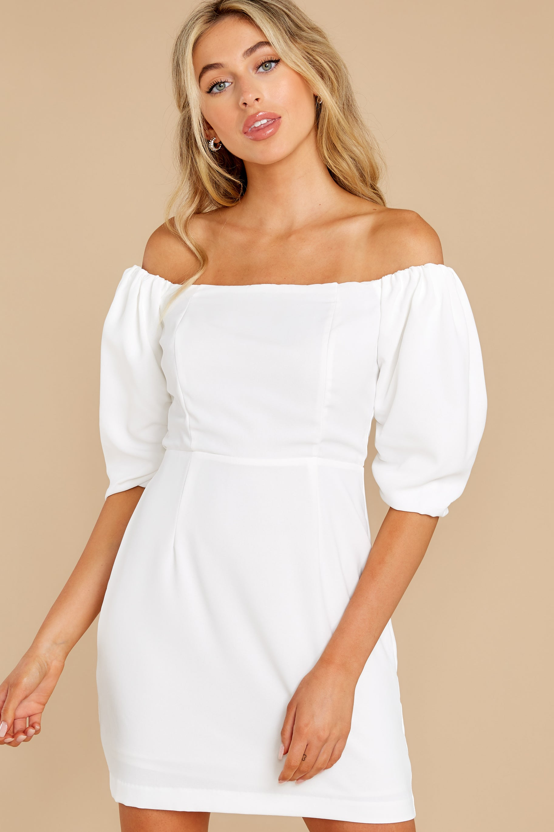 5 Lofty Ambitions White Off The Shoulder Dress at reddress.com