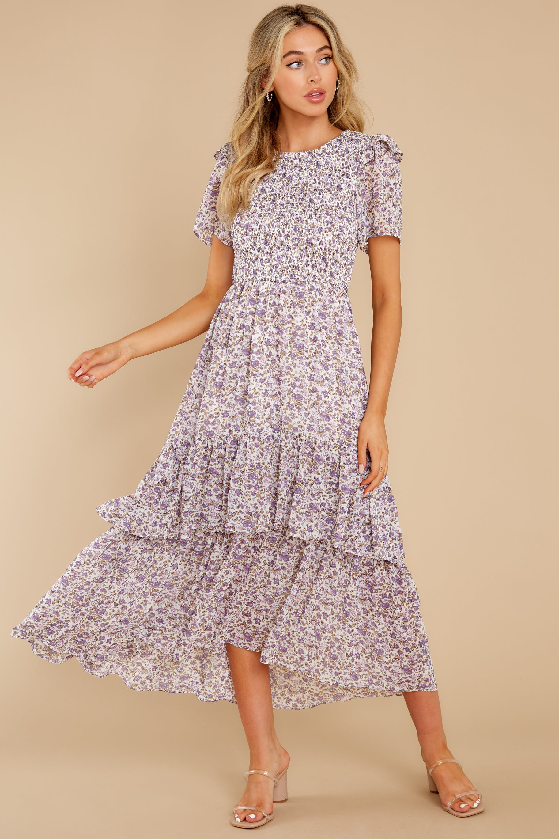 1 Magnetic Attraction Purple Floral Print Maxi Dress at reddress.com