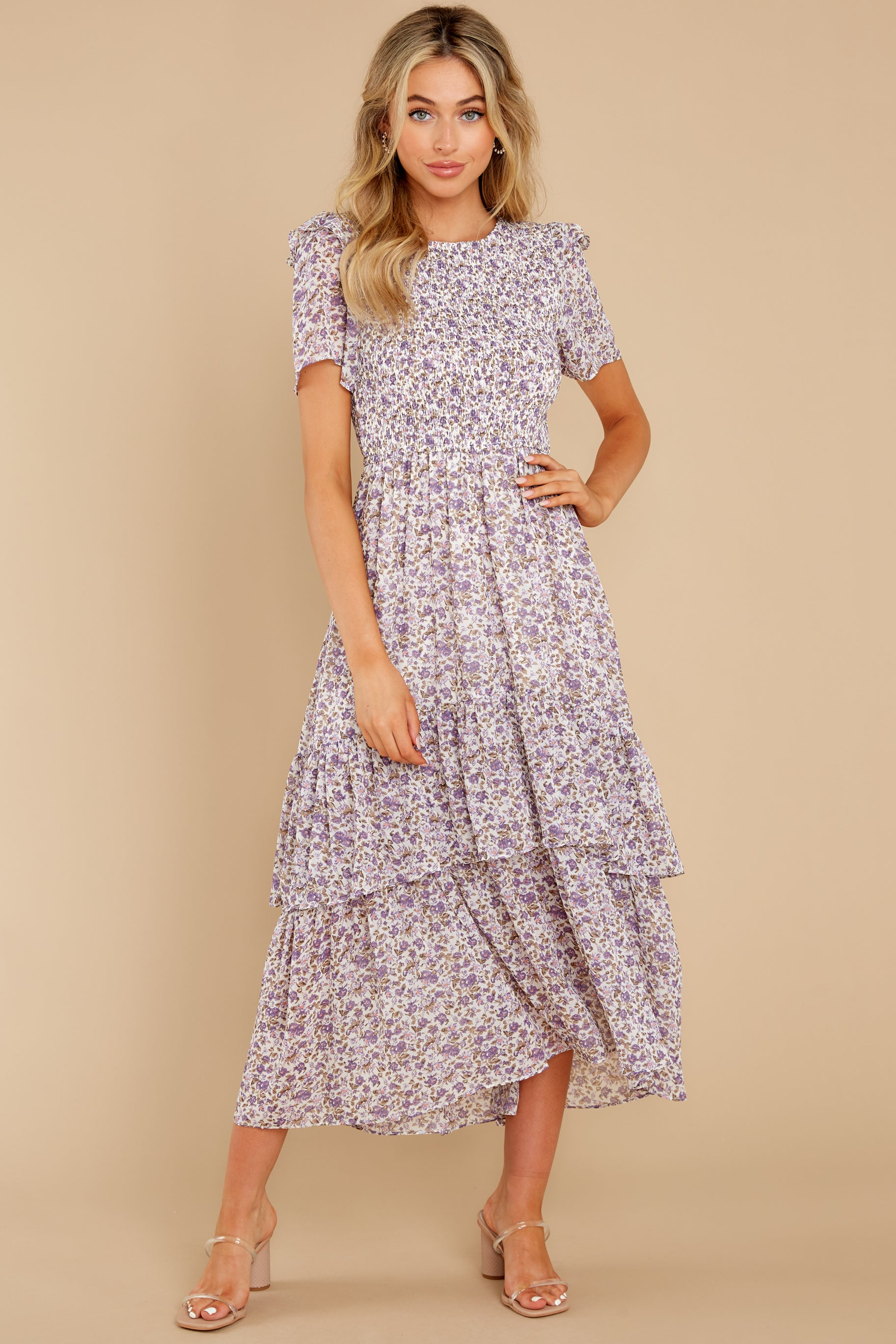 2 Magnetic Attraction Purple Floral Print Maxi Dress at reddress.com