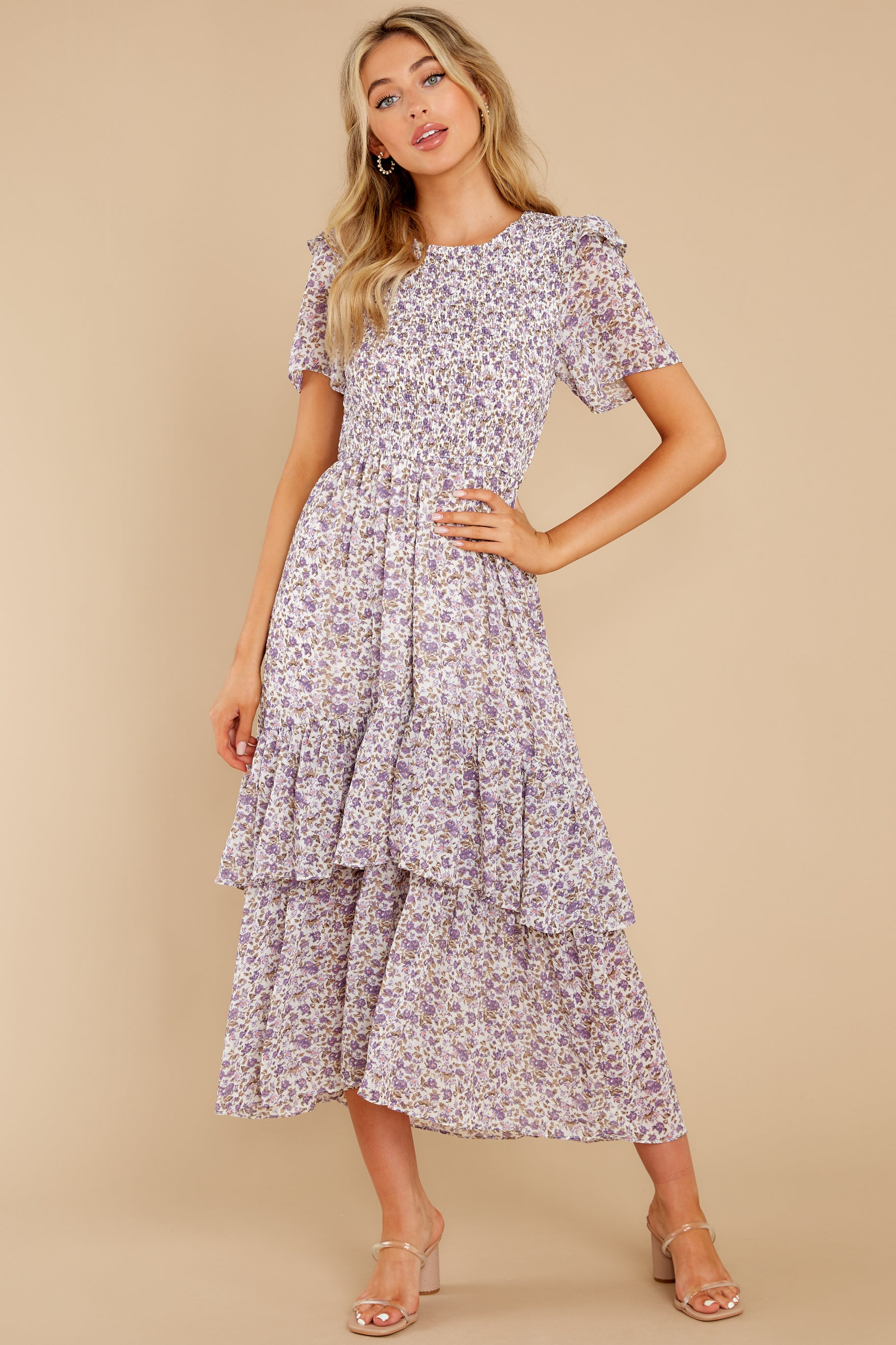 3 Magnetic Attraction Purple Floral Print Maxi Dress at reddress.com