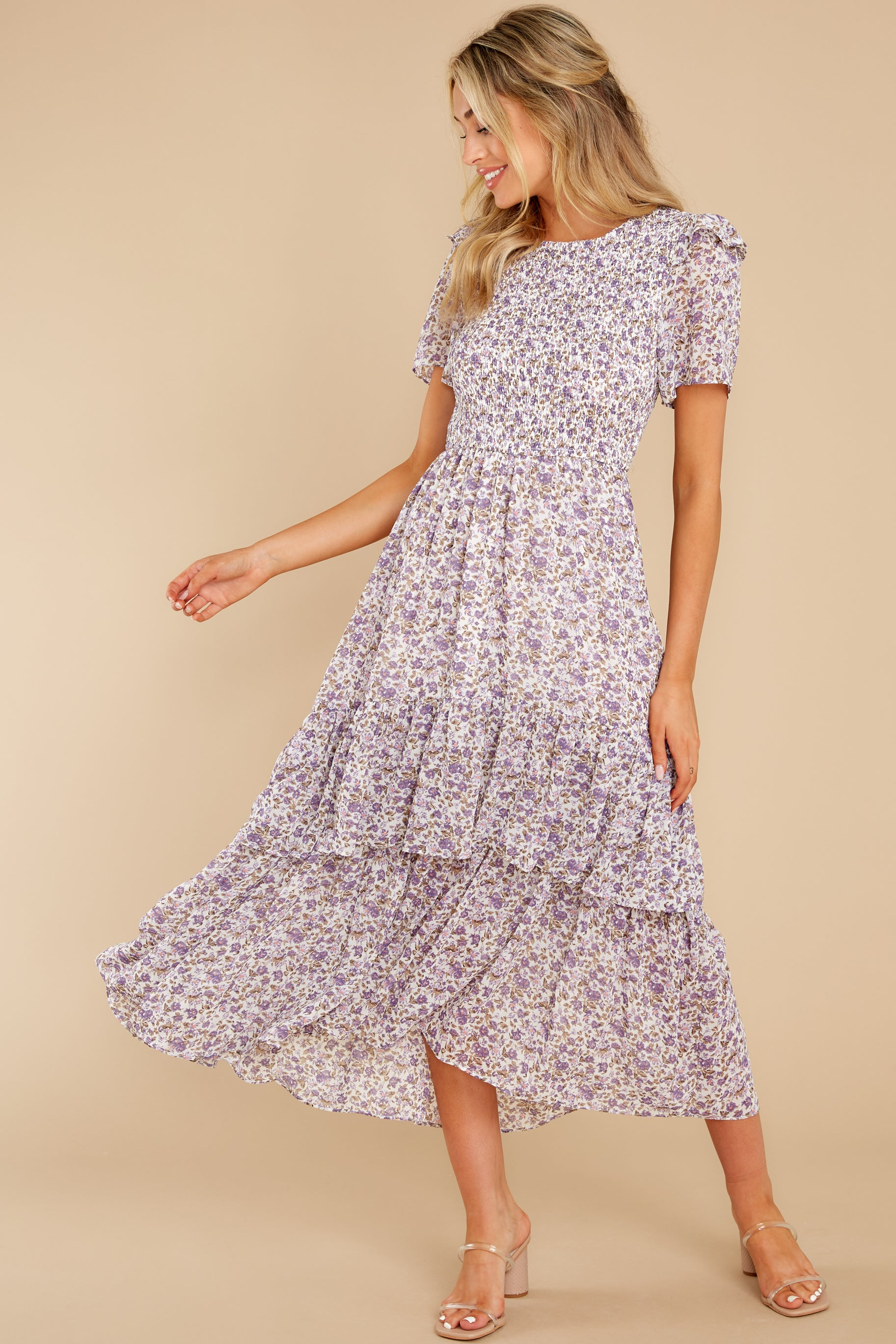 4 Magnetic Attraction Purple Floral Print Maxi Dress at reddress.com