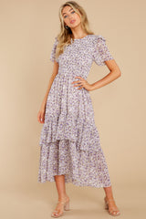 5 Magnetic Attraction Purple Floral Print Maxi Dress at reddress.com