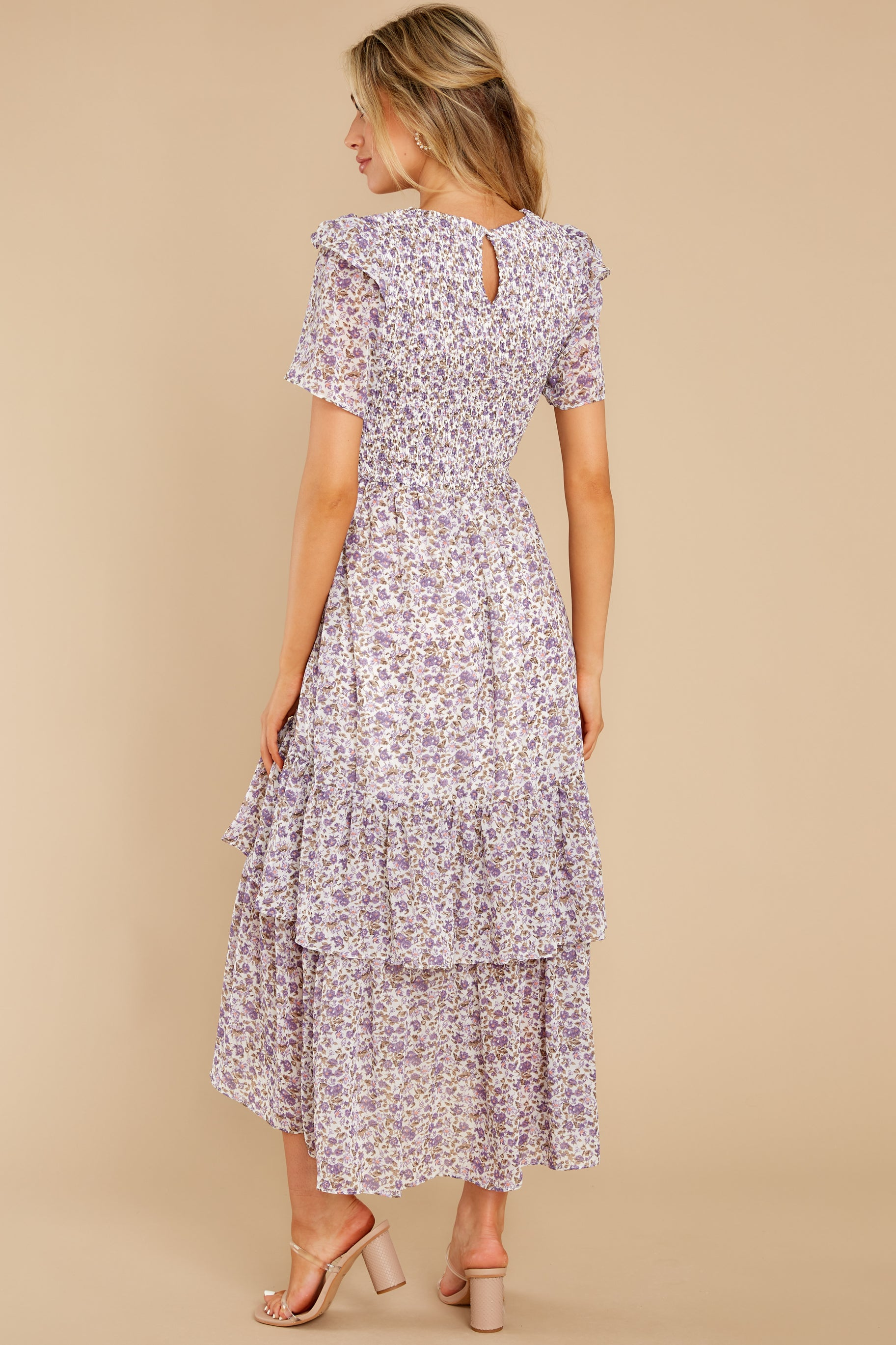 6 Magnetic Attraction Purple Floral Print Maxi Dress at reddress.com