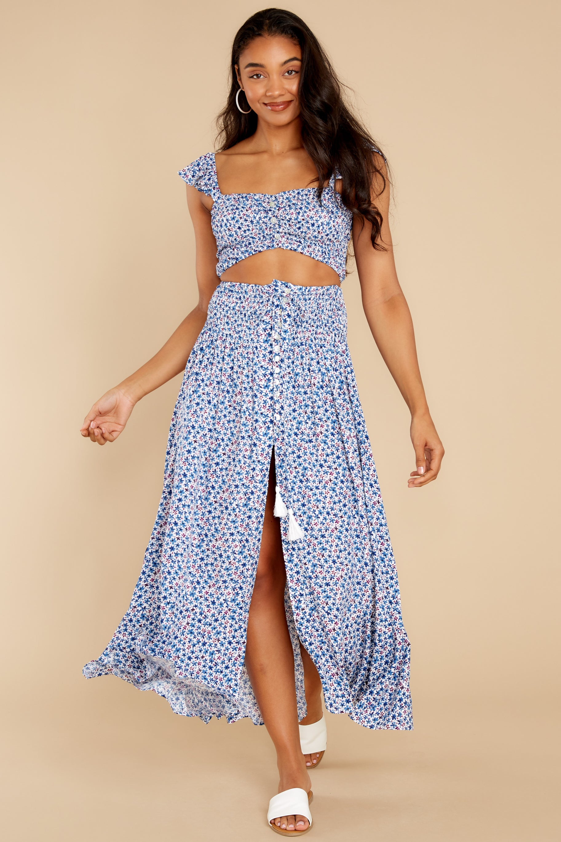 2 Lifting The Spirits Blue Floral Print Two Piece Set at reddress.com