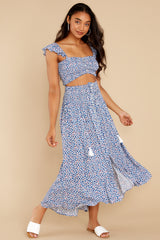 3 Lifting The Spirits Blue Floral Print Two Piece Set at reddress.com
