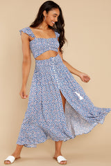 4 Lifting The Spirits Blue Floral Print Two Piece Set at reddress.com