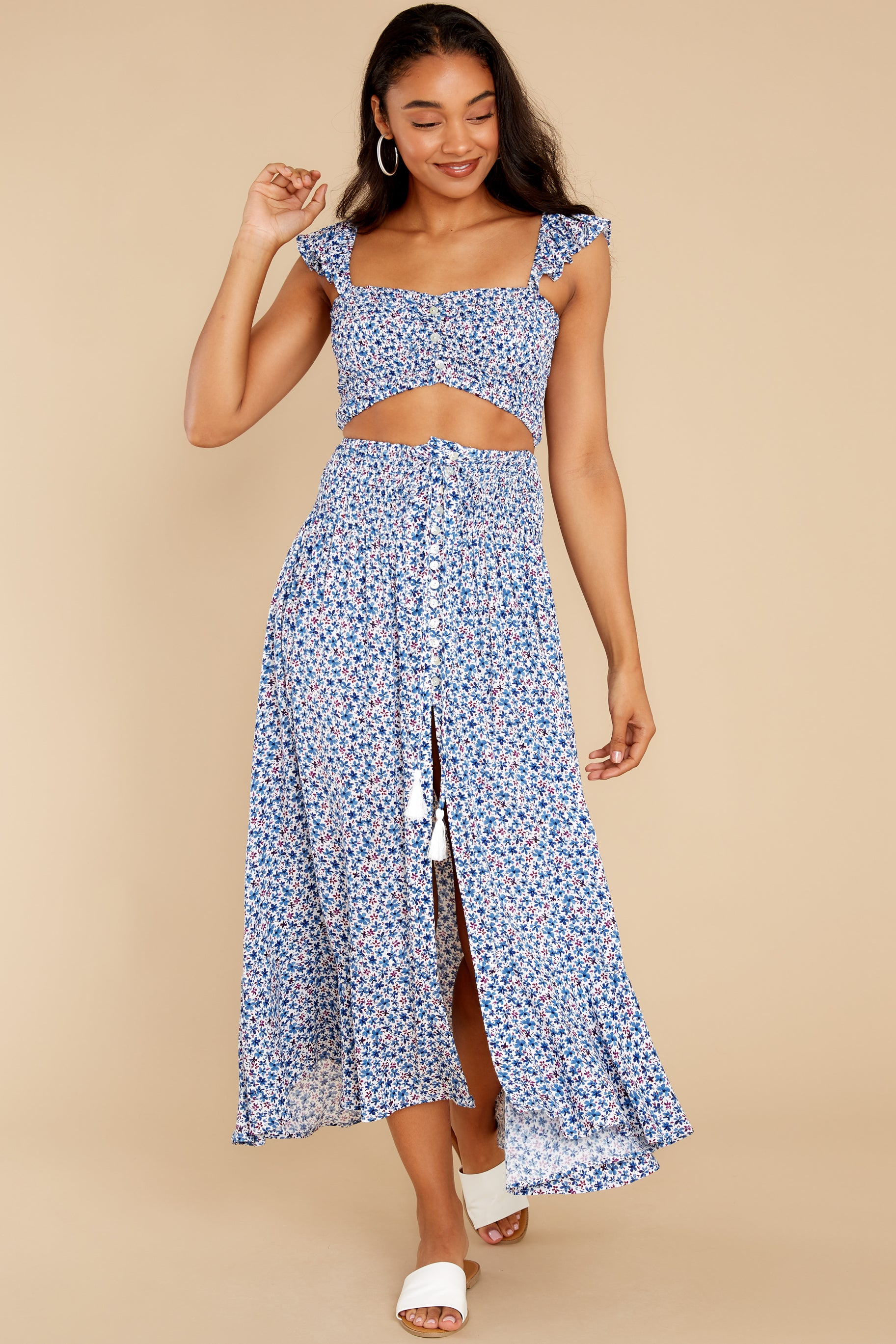 1 Lifting The Spirits Blue Floral Print Two Piece Set at reddress.com