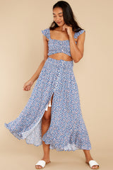 5 Lifting The Spirits Blue Floral Print Two Piece Set at reddress.com