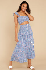 6 Lifting The Spirits Blue Floral Print Two Piece Set at reddress.com
