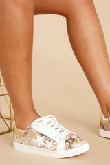3 Good Fortune Beige Snakeskin Sneakers at reddress.com