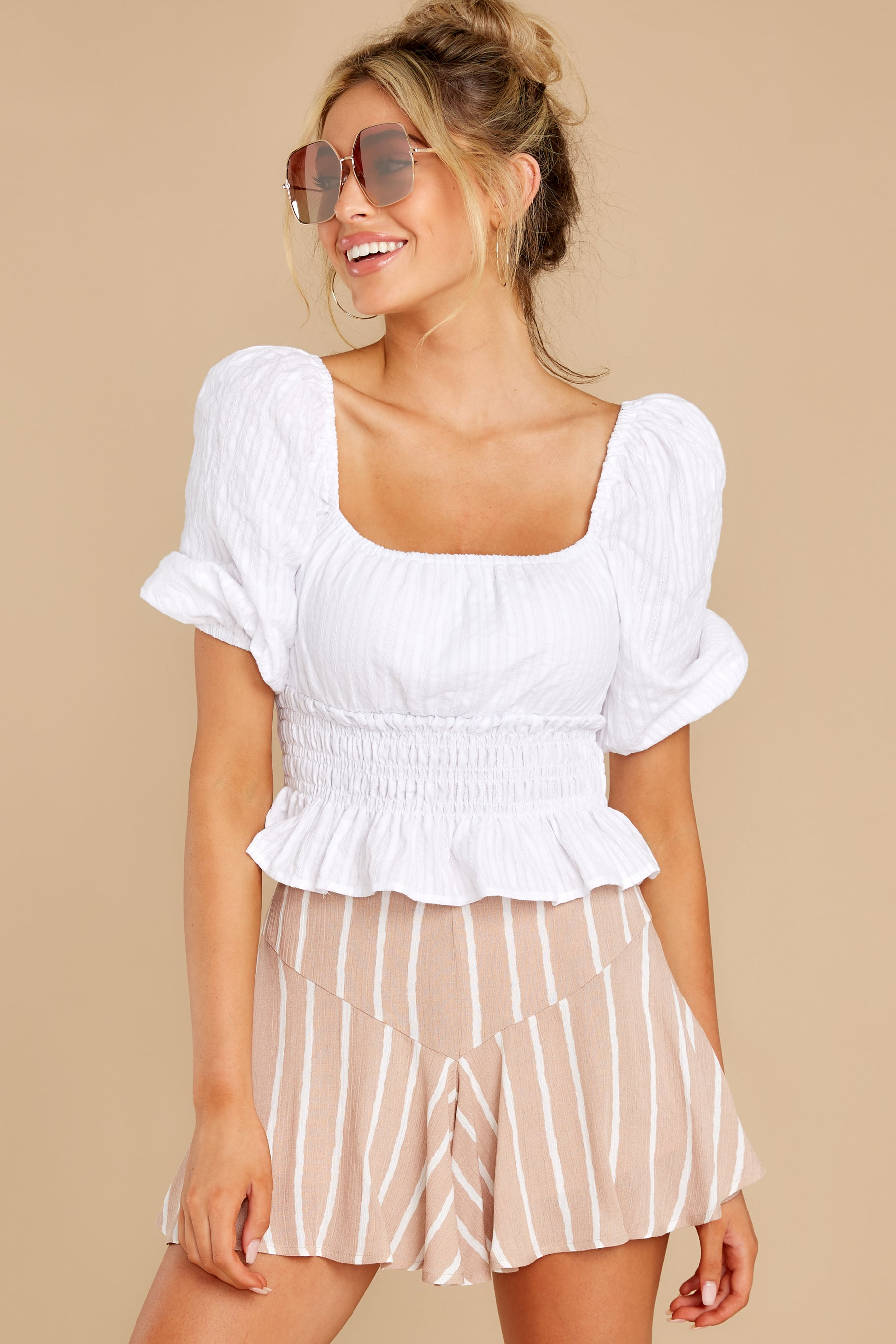 6 Heart Strings White Blouse at reddress.com