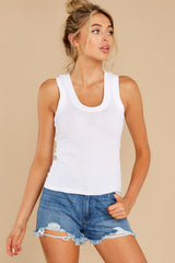 10 Sirena White Rib Tank at reddress.com