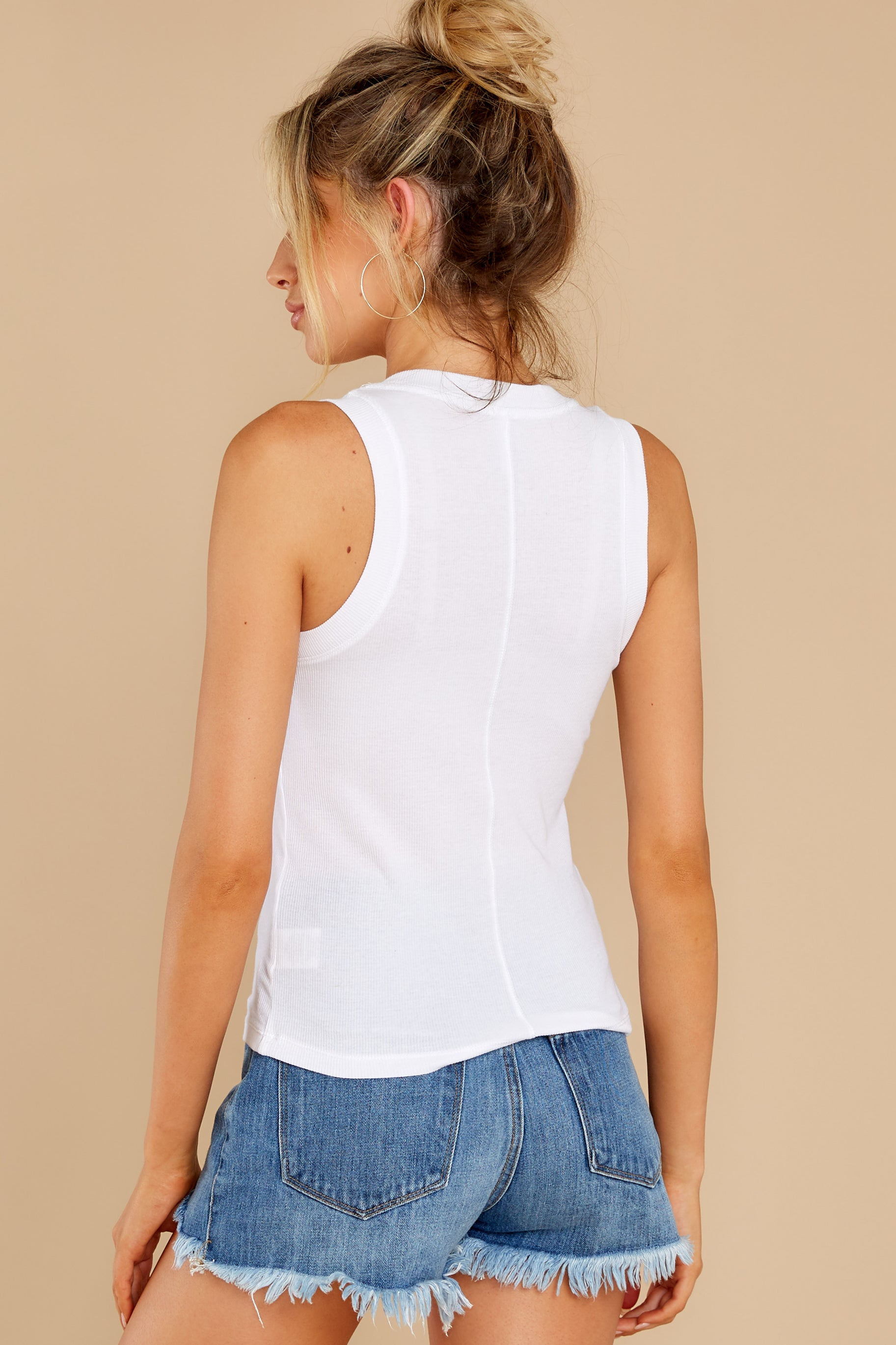 12 Sirena White Rib Tank at reddress.com