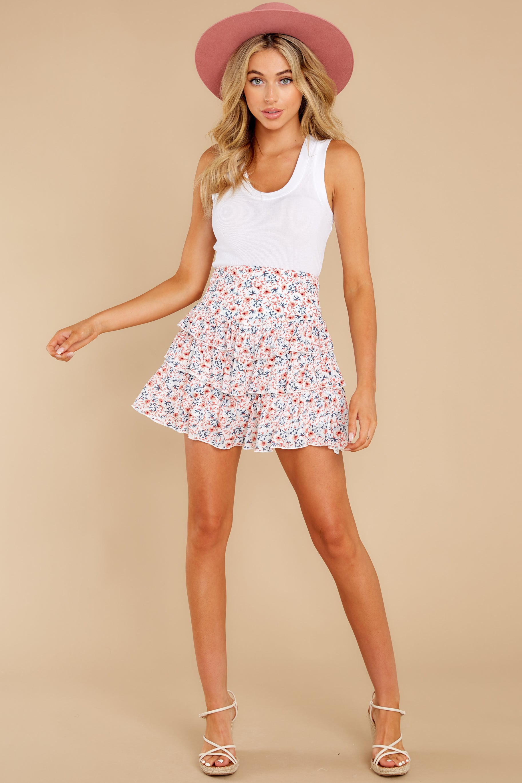 4 Heat Wave White Floral Print Mini Skirt at reddress.com