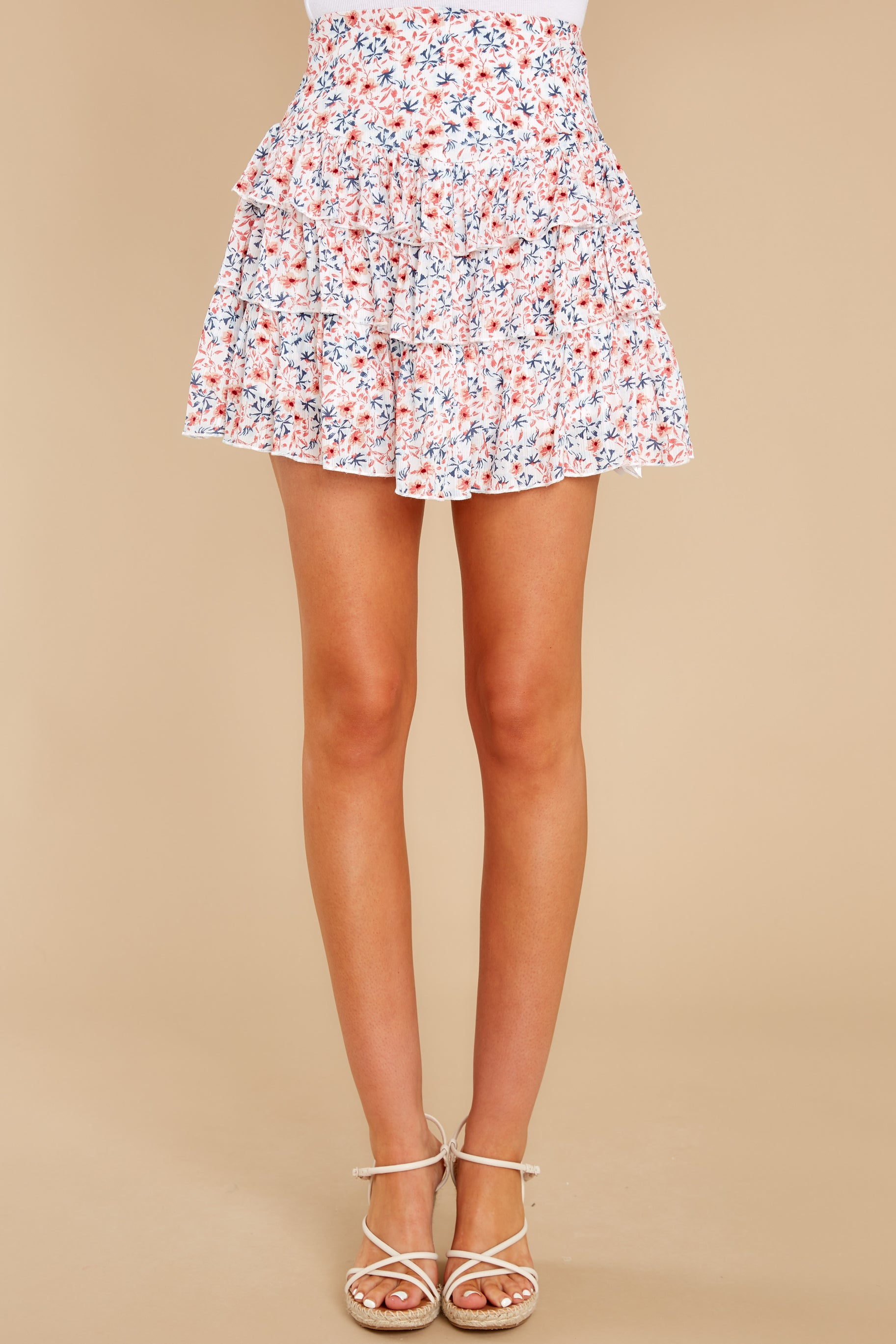 2 Heat Wave White Floral Print Mini Skirt at reddress.com