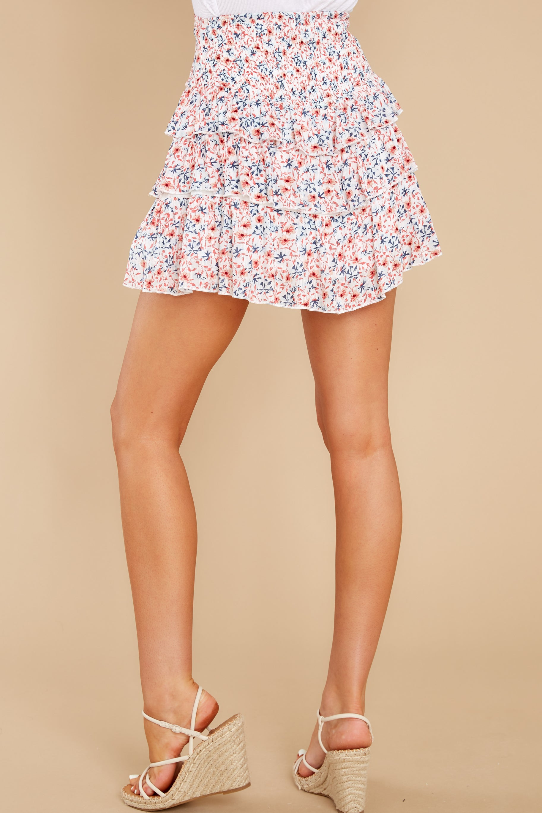 3 Heat Wave White Floral Print Mini Skirt at reddress.com