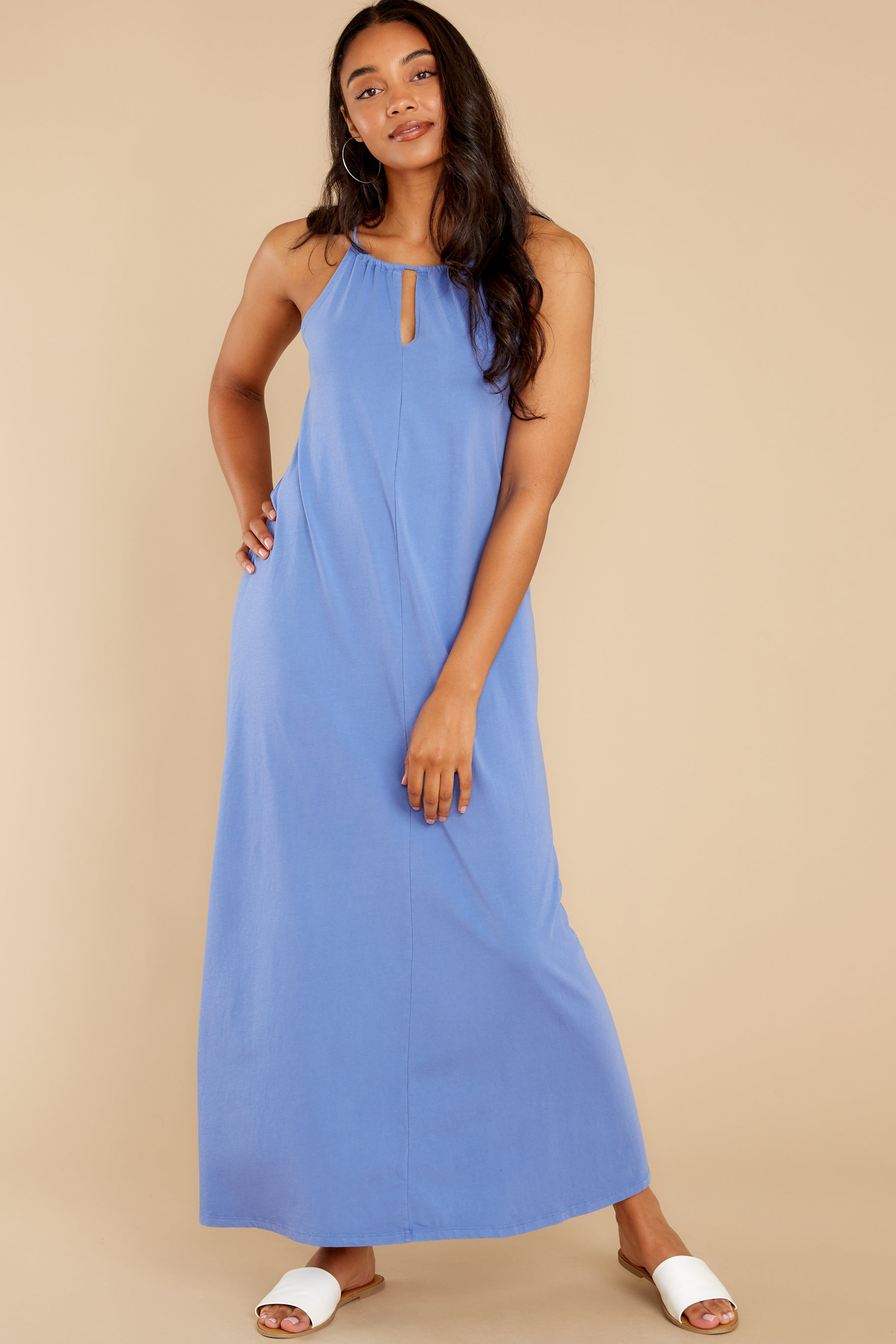 3 Marta Washed Indigo Maxi Dress at reddress.com