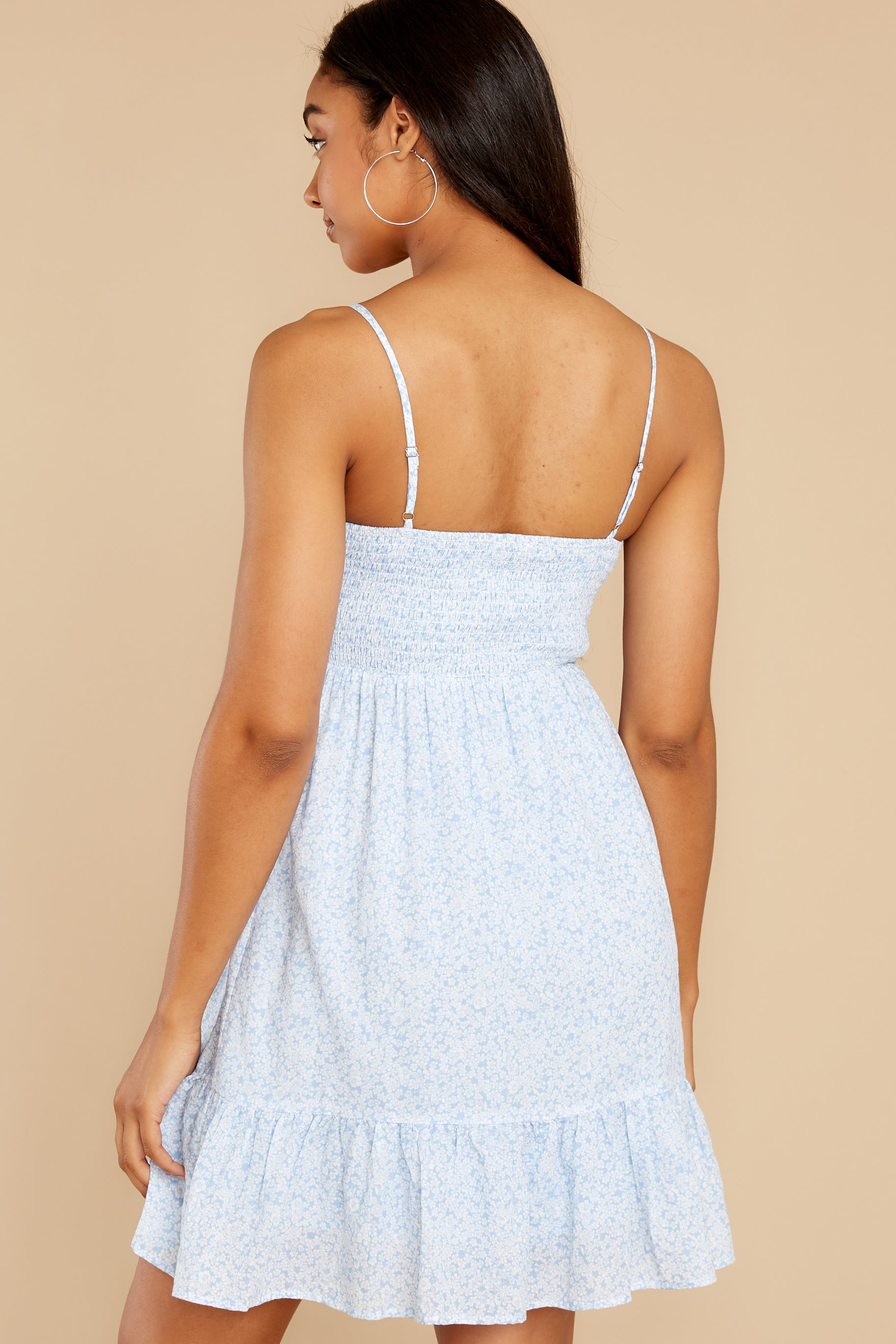 7 Forward Thinking Light Blue Floral Print Dress at reddress.com