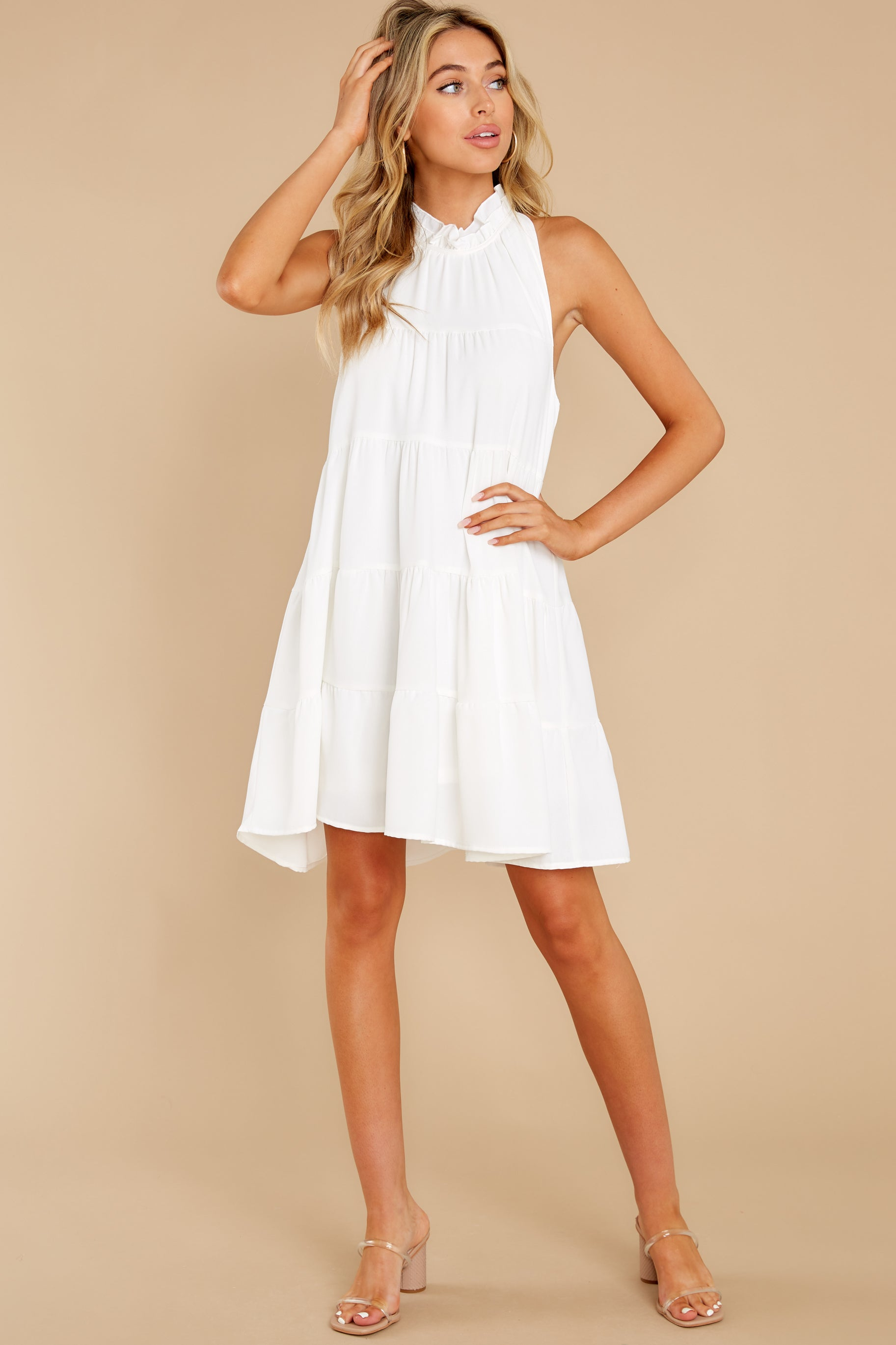 2 Cut To The Chase Off White Dress at reddress.com