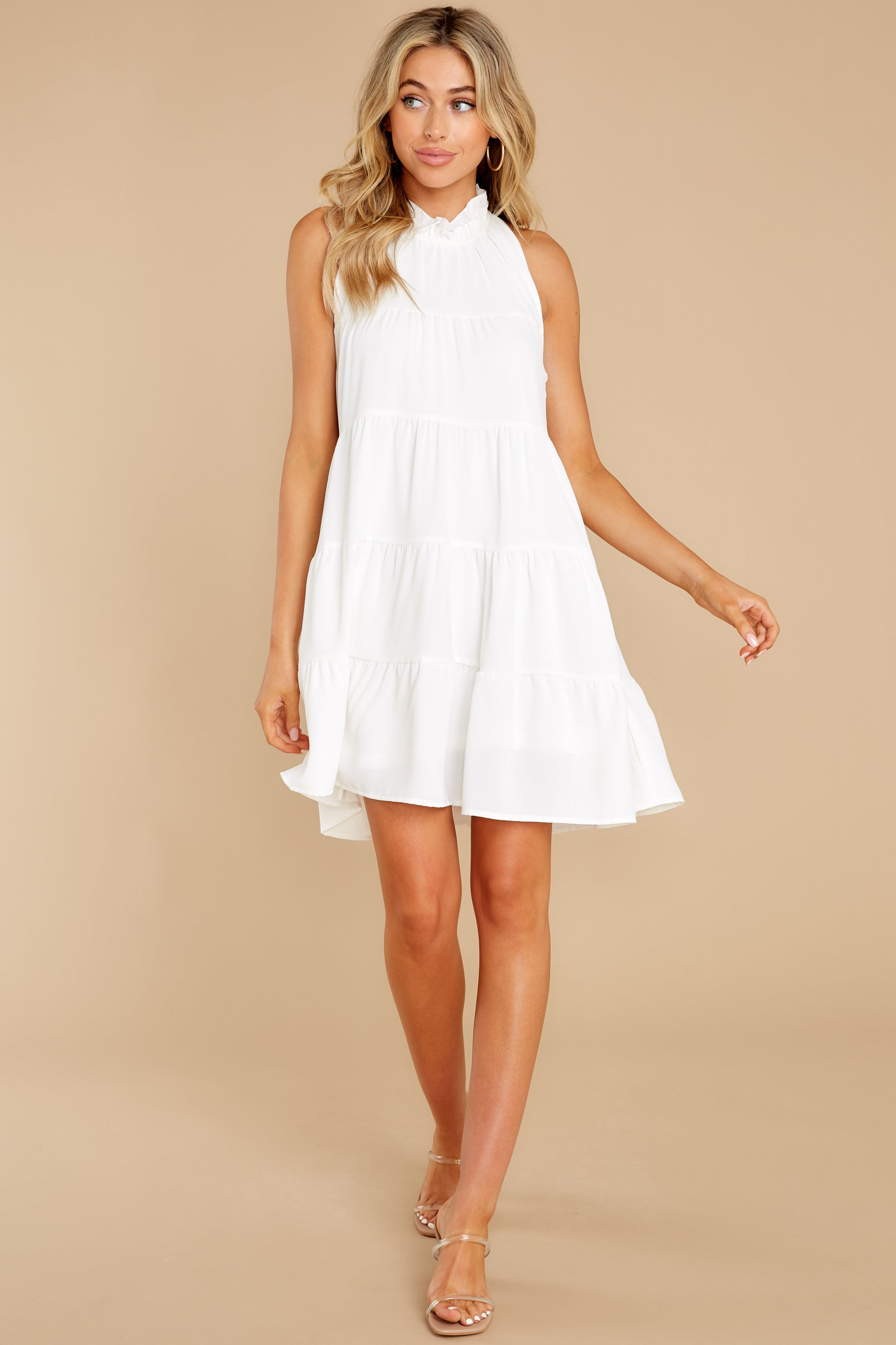 3 Cut To The Chase Off White Dress at reddress.com
