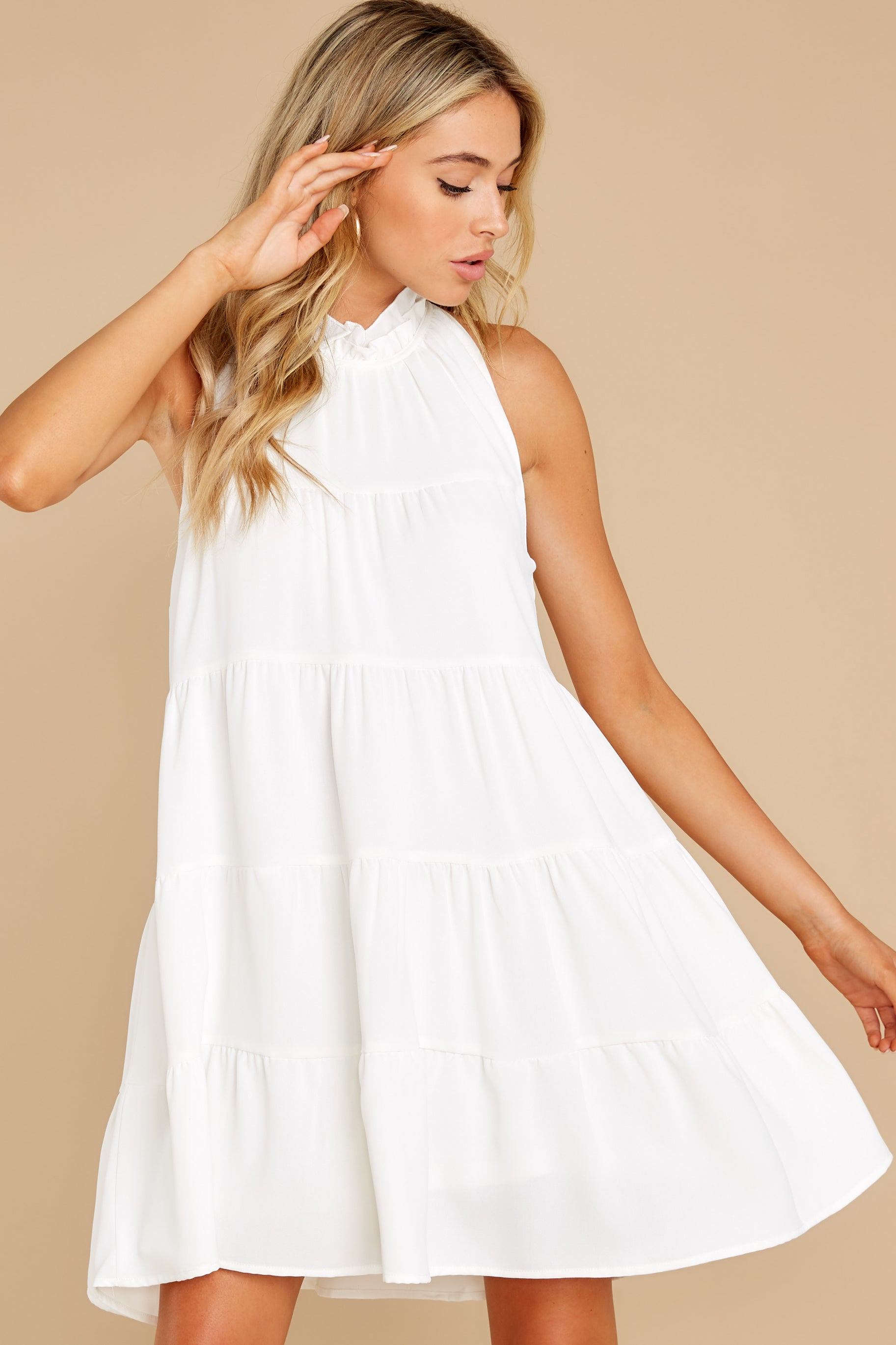 4 Cut To The Chase Off White Dress at reddress.com