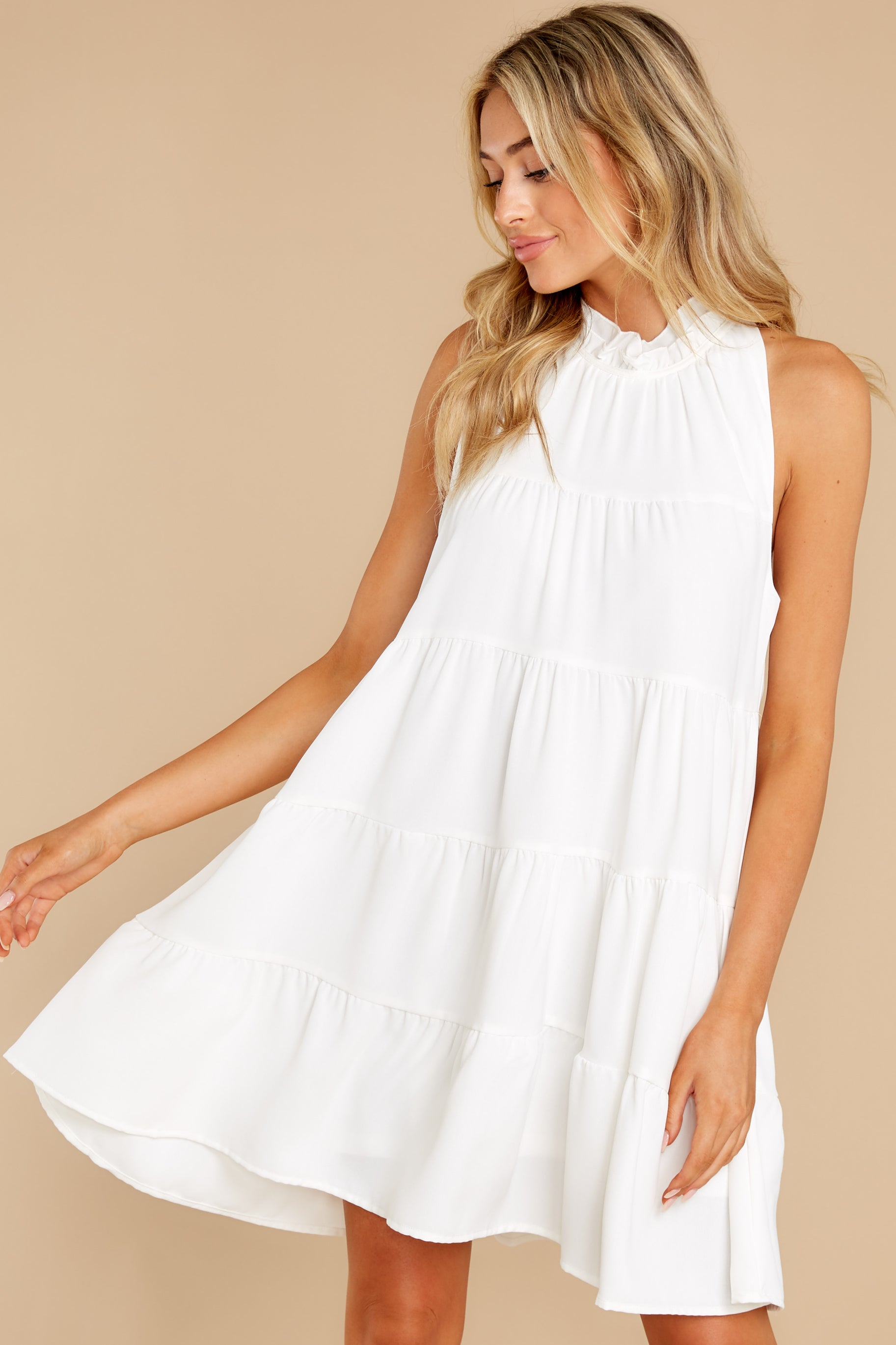5 Cut To The Chase Off White Dress at reddress.com