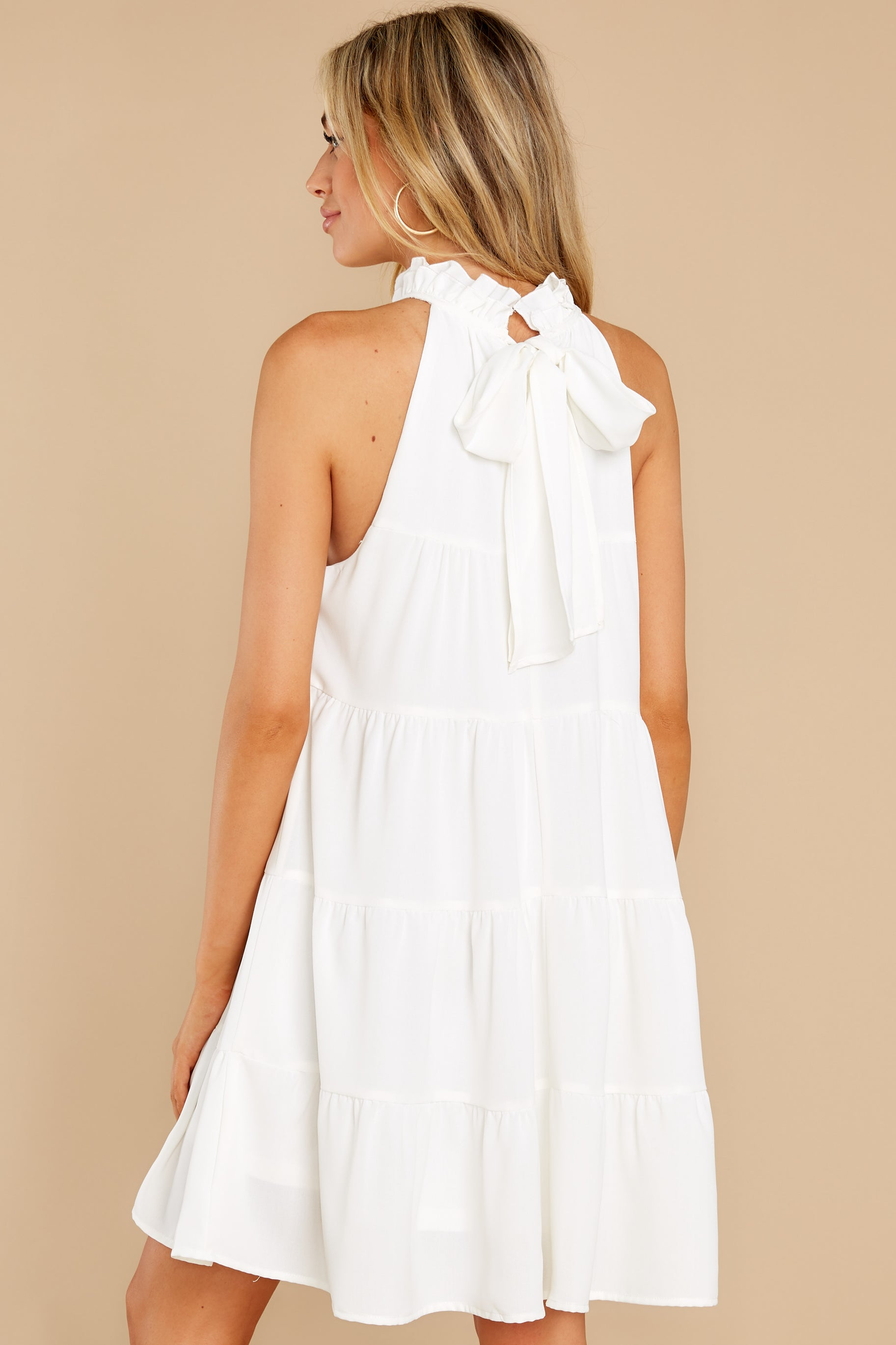 7 Cut To The Chase Off White Dress at reddress.com