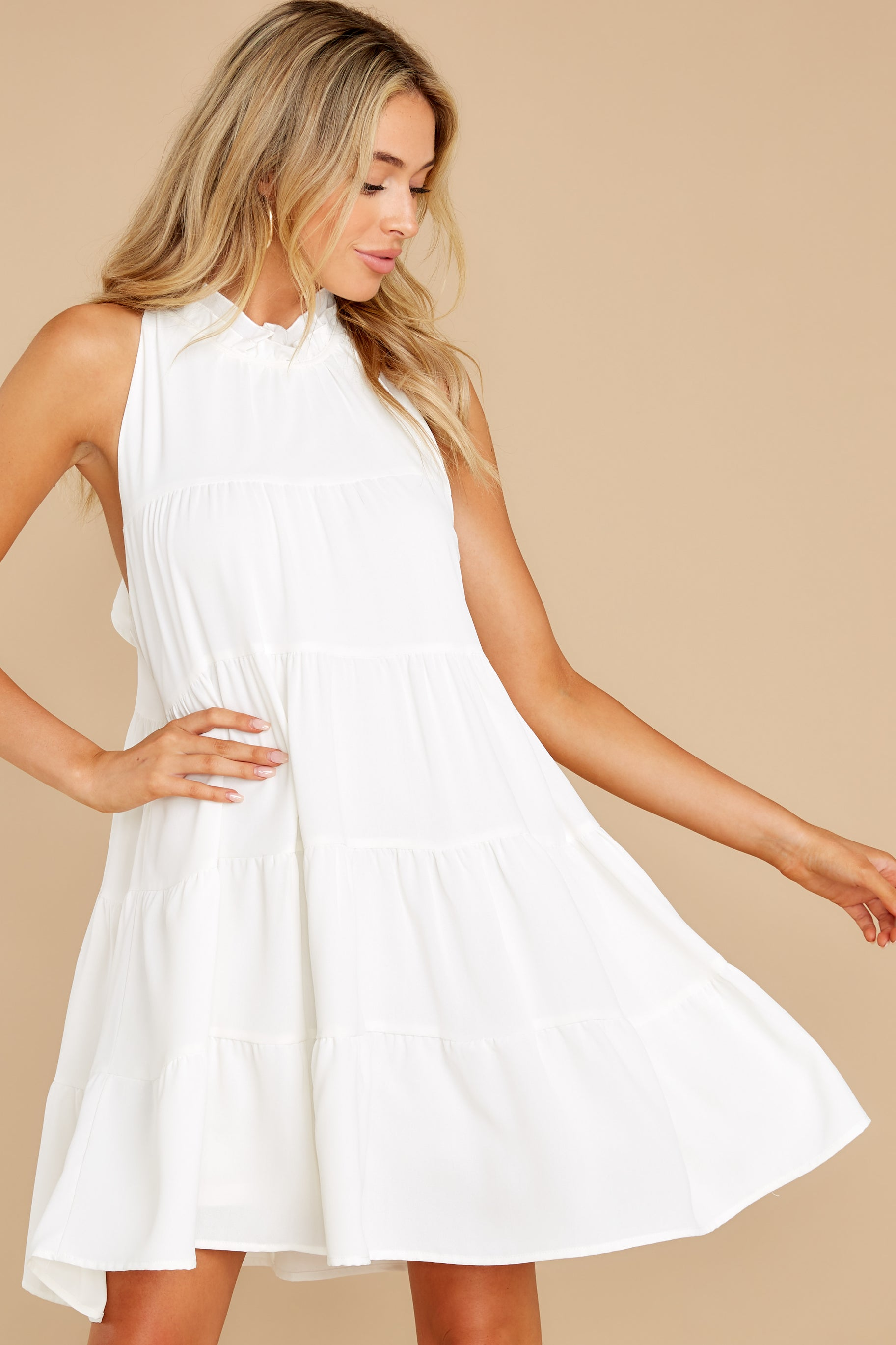 6 Cut To The Chase Off White Dress at reddress.com