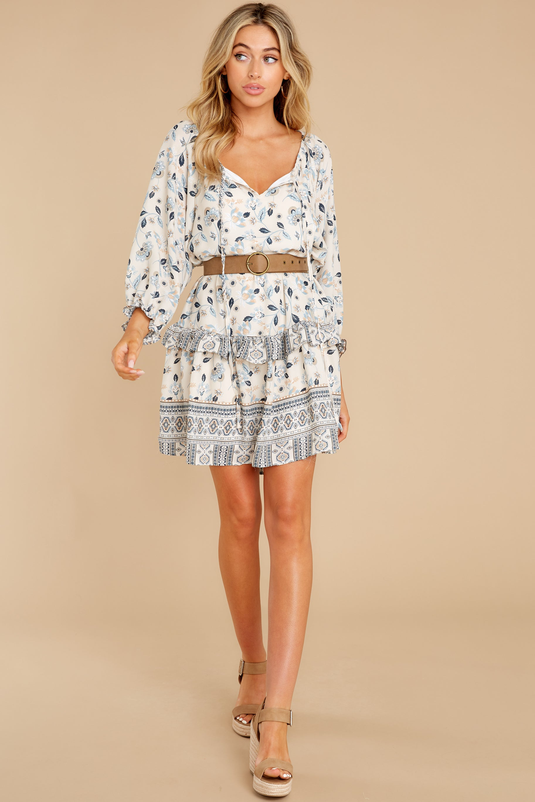 3 Hearts Race Taupe Floral Print Dress at reddress.com