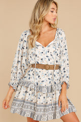 6 Hearts Race Taupe Floral Print Dress at reddress.com
