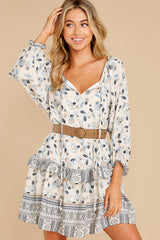 5 Hearts Race Taupe Floral Print Dress at reddress.com