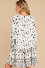 8 Hearts Race Taupe Floral Print Dress at reddress.com