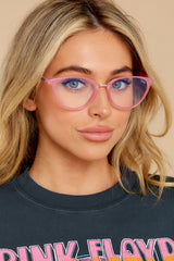 1 Rumours Pink Clear Blue Light Glasses at reddress.com